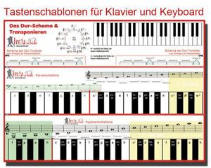 Tastenschablone, Klavier lernen, Keyboard lernen, Tastatur, Noten für Keyboard