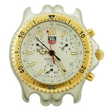 TAG HEUER LINK CG1120-0 WHITE DIAL SEL CHRONO 2-TONE WATCH HEAD FOR PARTS/REPAIR