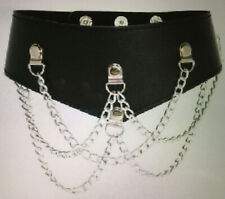 Black Faux leather Fetish Choker Collar with Chains Unisex One Size Studded Stud