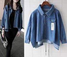 Women ladies loose denim cape Jackets spring Coats short shirts denim jacket