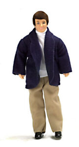 DOLLS HOUSE DOLL 1/12th SCALE MODERN MAN WITH BLUE JACKET VINYL  FIGURE