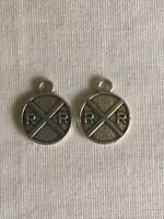 Vintage Railroad Crossing Charm - Pair Of RR Charms With FREE SHIPPING