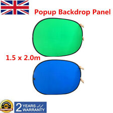 Backdrop Reversible Collapsible Screen Green/Blue 2-in-1 Background Panel Popup