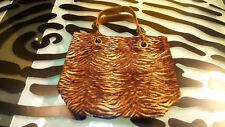 Maurizio Taiuti Leather Purse Handbag Good Condition Animal Print Furry