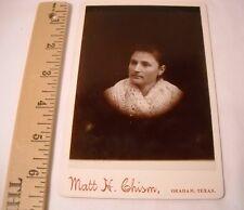 Antique/Vtg Photo pre 1900 Woman in Shawl - Matt Chism Graham TX (OL117)