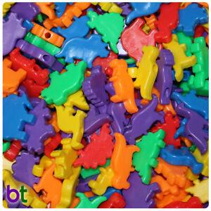 BeadTin Opaque Multi 30-40mm Dinosaur Pony Beads (4oz)