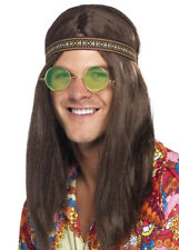 Mens Hippie Kit Brown Wig Headband Specs Necklace Fancy Dress