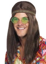 Hombre Hippy Kit peluca castaña diadema espf. Collar Disfraz