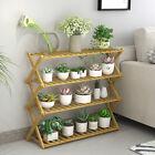 Foldable Bamboo Storage Shelf Plant Stand Flower Holder Shoe Rack Indoor Outdoor