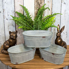 Set of 3 Oval Galvanised Metal Plant Pots Troughs Flower Window Box Planters