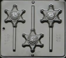 Sheriff Badge Lollipop Chocolate Candy Mold 3455