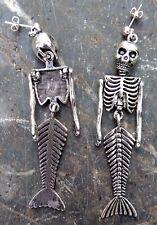 Pair LARGE MERMAID SKELETON EARRINGS Drop Stud Skull 925 SILVER PLATED STUDS