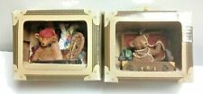Vtg 1999 Boassy Bears Pair Collectible Ornaments Goin' North & Goin' West Niob