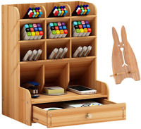 Marbrasse Wooden Desk Organizer, Multi-Functional Diy Pen Holder Box, Desktop St