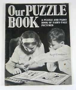 Our Puzzle Book Paint Book of Fairy Tale Pictures by H Hudson Rand McNally ©1934