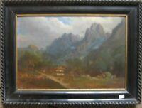 Romantico Biedermeier Tedesco Sud Dipinto a Olio C.Keller ?? Um 1850 Alpi Antico
