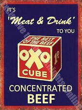 Oxo Cube Food & Drink Cooking Beef Old Butchers Shop Cafe Large Metal/Tin Sign