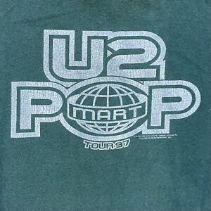 Vintage 1997 U2 Pop Mart Tour Double Sided Concert Green Large T-Shirt