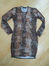BOOHOO ladies brown snakeskin pattern long sleeve body con dress UK 12 EXCELLENT