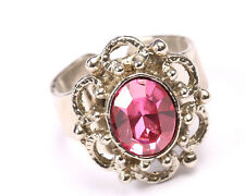 Silver Tone Ring with Pink Crystal, Vintage 1950s, Size O
