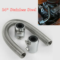 "24"" Stainless Steel Chrome Radiator Flexible Coolant Water Hose Kit With Caps"
