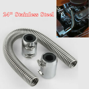 24in Stainless Steel Chrome Radiator Flexible Coolant Water Hose Kit With Caps
