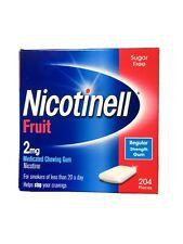 Nicotinell FRUIT 2mg. Sugar Free Regular Strength Gum. 1 Box 204 pieces NEW!