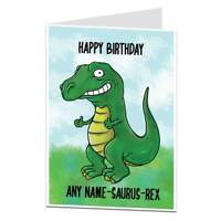 Personalised Kids Birthday Card Dinosaur Theme For Children Boys 4th 5th 6th 7th