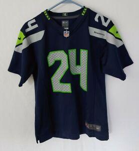 Nike On Field Seahawks NFL Sewn Jersey Boys Size LG (14/16) Marshawn Lynch #24