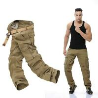 28-46 Mens Loose Long Tooling Pants Multipockets Cotton Military Work Hot Bt15