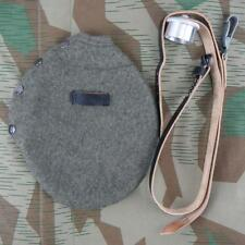 WWII German Canteen's Wool Felt Cover & Leather Carry Strap Rrepro 1L