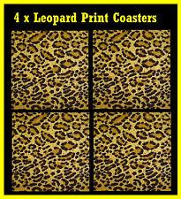 LEOPARD PRINT - SET OF 4 COASTERS - BRAND NEW - GIFT - EASY CLEAN - HEATPROOF