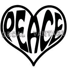Heart Peace Text Vinyl Sticker Decal Love - Choose Size & Color