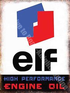 Vintage Garage Elf Huile Moteur,63 Essence,Moteur Voiture,Grand Enseigne en