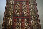 ANTIQUE VINTAGE PIECE OF AFGHAN HAND MADE GEOMETRIC PICTORIAL RUNNER RUG