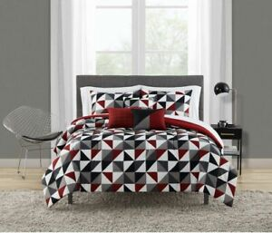 Mainstays Reversible Triangles 8pc Bed In A Bag Sheets Comforter Pillows T/TXL