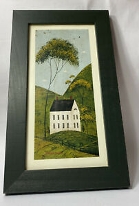 Warren Kimble Green Framed White FarmHouse Print  Vintage Folk Art Rectangle