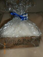 Bath & Body Works wooden crate box w/ white straw, shrink wrap, ribbon, name tag