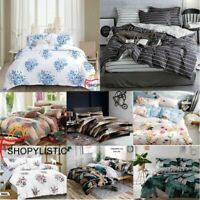 Duvet Quilt Cover With Pillow Case Home Bedding Set Single Double King All Sizes