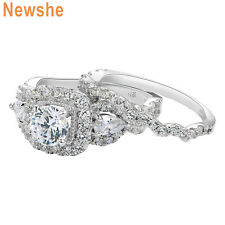 Silver Engagement Wedding Ring Set Sz 8 Newshe Halo Round Pear Cz 925 Sterling