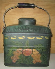 ANTIQUE TOLEWARE PAINTED NATIONAL TIN LUNCH PAIL BOX DECORATED WITH BAIL HANDLE