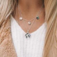 World Map Pendant Necklace Women Silver Gold Globe Earth Layered Chain Jewelry