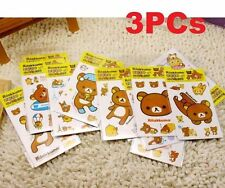 3PCs Rilakkuma San-X Relax Bears Stickers For Home Stationery Moblie 3PCs ♫