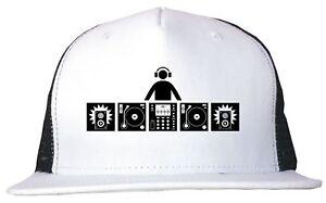 DJ Table With Headphones Logo Trucker Hat Cap Adjustable