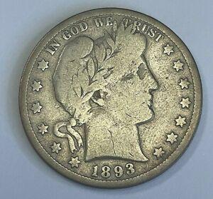1893 S Barber Half Dollar VG Very Good+