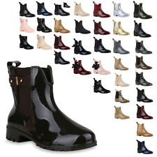 Bequeme Damen Stiefeletten Gummistiefel Lack Regen Schuhe 810987 Top