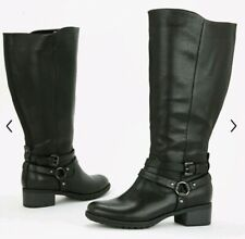 EVANS SIZE 9 EEE BLACK BUCKLE LONG KNEE BOOTS EXTRA WIDE NEW CURVE MUST HAVE