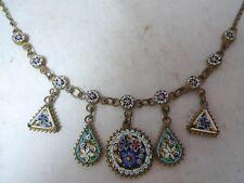 Calidad Antiguo Collar de mosaico de micro 44.5 cm X 3.4 cm A604717