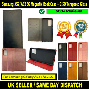 Samsung Galaxy A52 / A52 5G Magnetic Book Wallet Case + Tempered Glass Protector