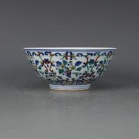China antique Porcelain Qing yongzheng blue white doucai painting flower bowl